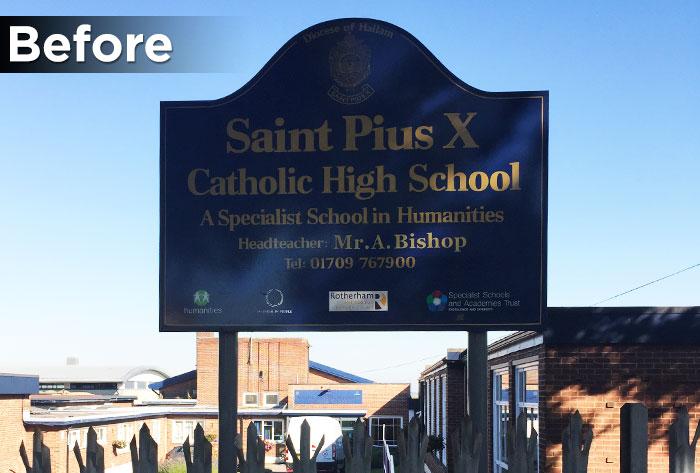 st-pius-x-school-signage-before